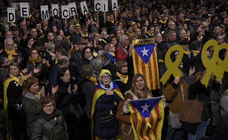 Gran protesta por juicio de independentistas Catalanes